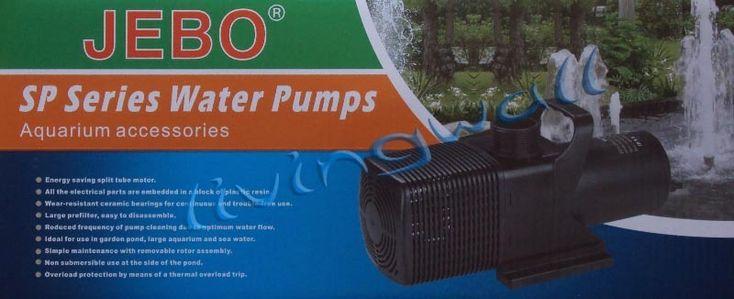 ** Precio 102,50 €  **JEBO SP-600 serie Caudal max.: 4800 l/h  -  Altura max.: 4,5 mts  -  Potencia: 90 W. Bomba para estanques funcionamiento sumergible y en seco.