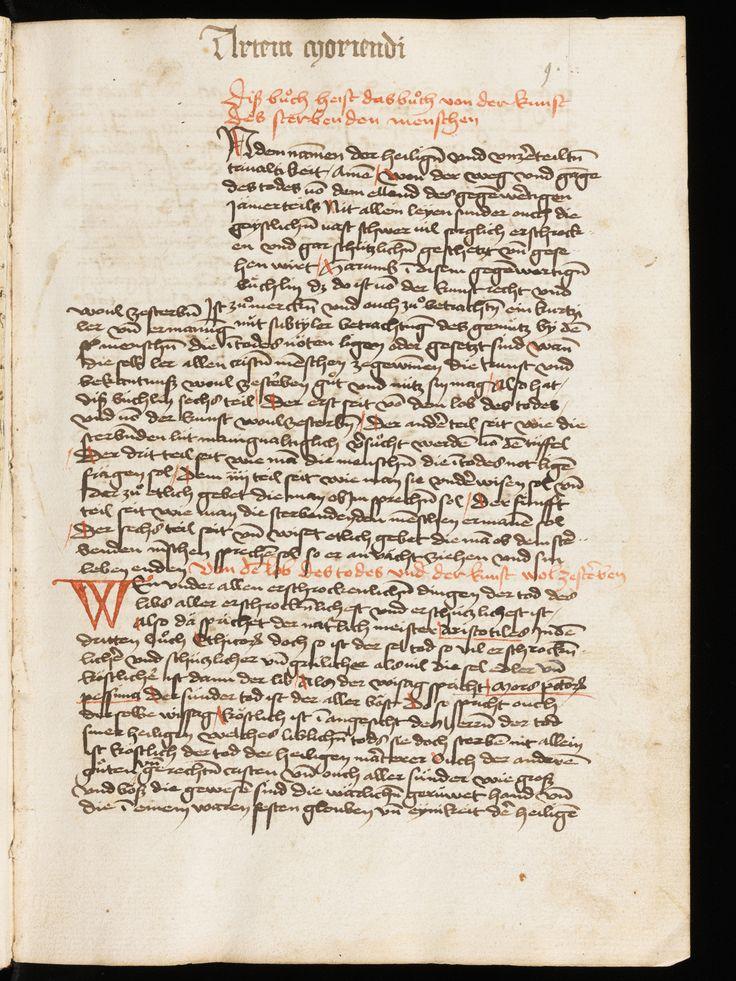 St. Gallen, Stiftsbibliothek, Cod. Sang. 985, p. 9 – « Spiegelbuch » et autres traités édifiants en traduction allemande