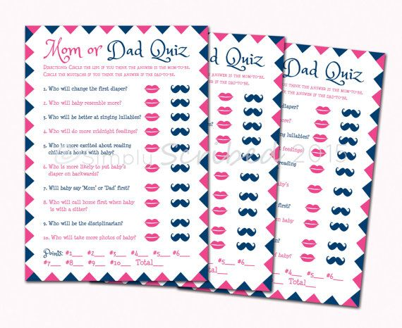 printable baby shower game mom or dad trivia navy blue and hot
