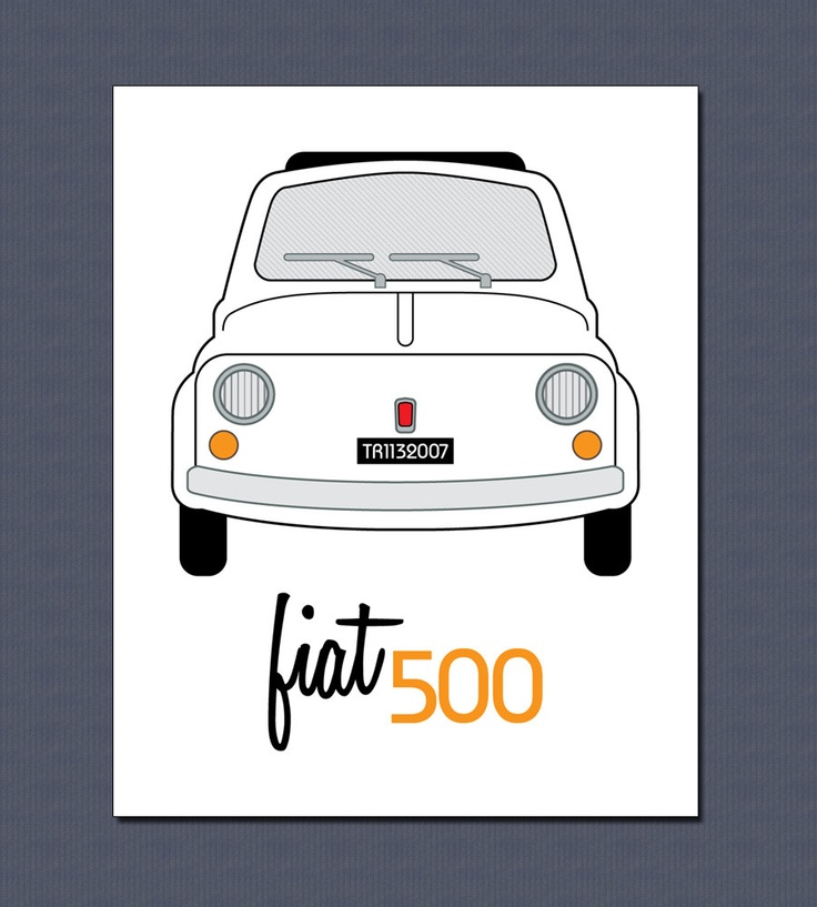 Full Frontal Fiat - 8x10 Vintage Fiat 500 Art Print in Red or White - Free Shipping in US. $10.00, via Etsy.