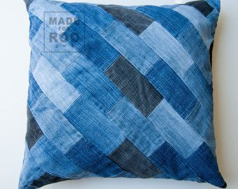 denim pillow cover 14 x 14 decorative pillow cover upcycled recycled repurposed denim woven. Black Bedroom Furniture Sets. Home Design Ideas