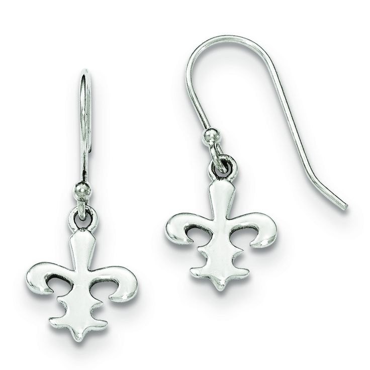 Sterling Silver Polished Fleur De Lis Dangle Shepherd Hook Earrings QE11981