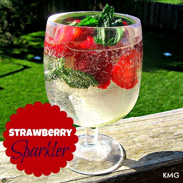 Strawberry Sparklers: one bottle sweet white wine, sparkling water (I used a strawberry flavor), 4 to 5 limes, mint sprigs, 1 pint strawberries