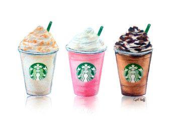 Set of 3 Starbucks Drinks Print | Art Illustration, Wall Art, Fashion Design, Starbucks Drawing, Frappe Art, Coffee Drawing, Pencil Art
