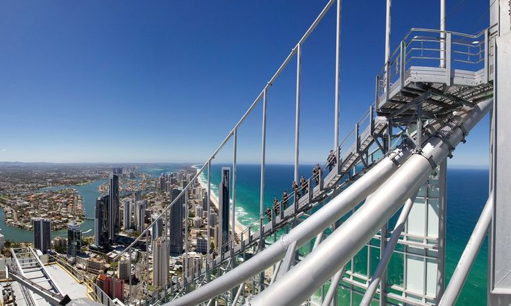 Skypoint Climb, Queensland, Australia The Sydney Bridge Climb is well-documented. Less well known but no less scary is this climb up the 322-metre Q1 building in Surfers Paradise on Queensland's Gold Coast. Starting at level 77 at 240 metres, participants climb 30 metres to reach the viewing platform for uninterrupted views of the Queensland coast.