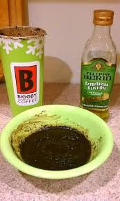 Get Rid of Cellulite~  1.Warm 1/2 cup of caffeinated coffee grounds and 2 tablespoons of olive oil in the microwave for 18 sec. 2.Standing over newspaper ( this is messy) smear the mixture over cellulite spots, then wrap in plastic wrap. Remove plastic after 20 minutes. Repeat 2-3 times a week for 6 weeks for best results.