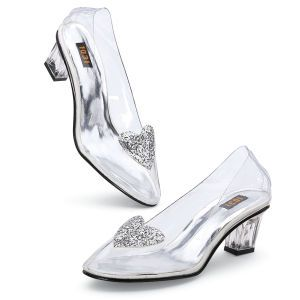"Great Find - Cinderella Slippers -  Softer, Too. Not only do they fit, they fit comfortably. Today's Cinderellas twirl in slippers like these: soft, glass-clear vinyl on glassy, 2"" heels, with silvery hearts twinkling on the insteps. Imported. Women's medium-width whole sizes 6-10; half sizes, order next larger size. -   Pyramid Collection (not for everyone)"