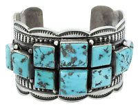 Andy Cadman, Bracelet, Sleeping Beauty Turquoise, Cluster, Silver, Navajo, 7 in