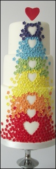 I'm so trying this design !Rainbow Hearts Cake