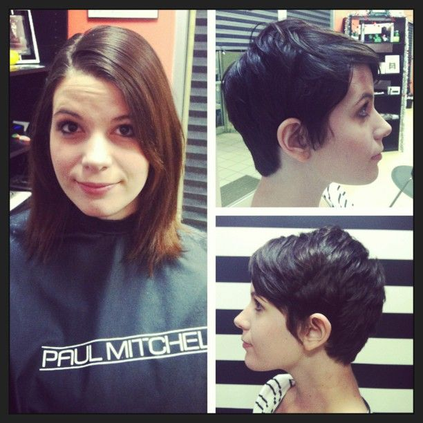 Before/after Pixie Cut