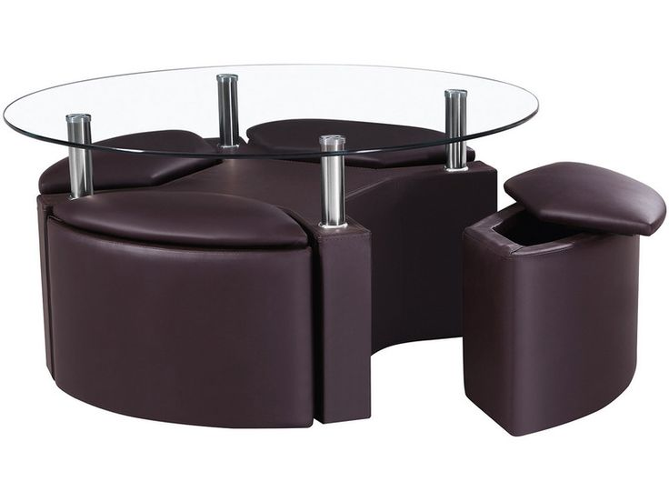 glass top ottoman coffee table | Round Chrome u0026 Glass Coffee Table with 4  Ottoman Storage