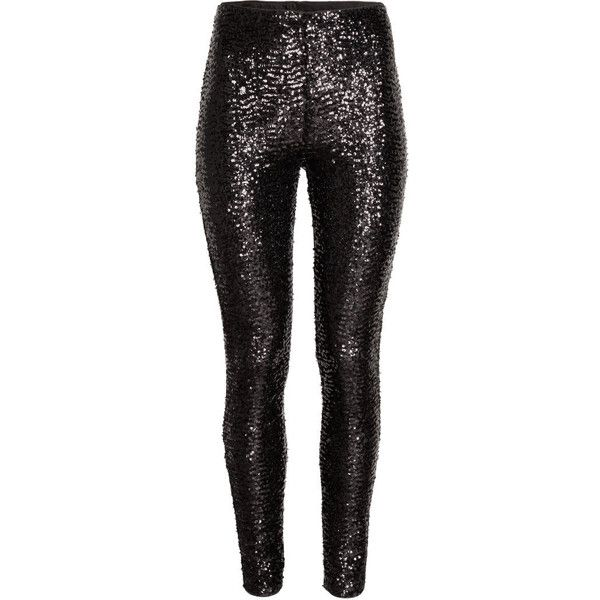 H&M Sequined leggings ($30) ❤ liked on Polyvore featuring pants, leggings, bottoms, black, high waisted pants, mesh pants, black sequin pants, h&m and black mesh leggings