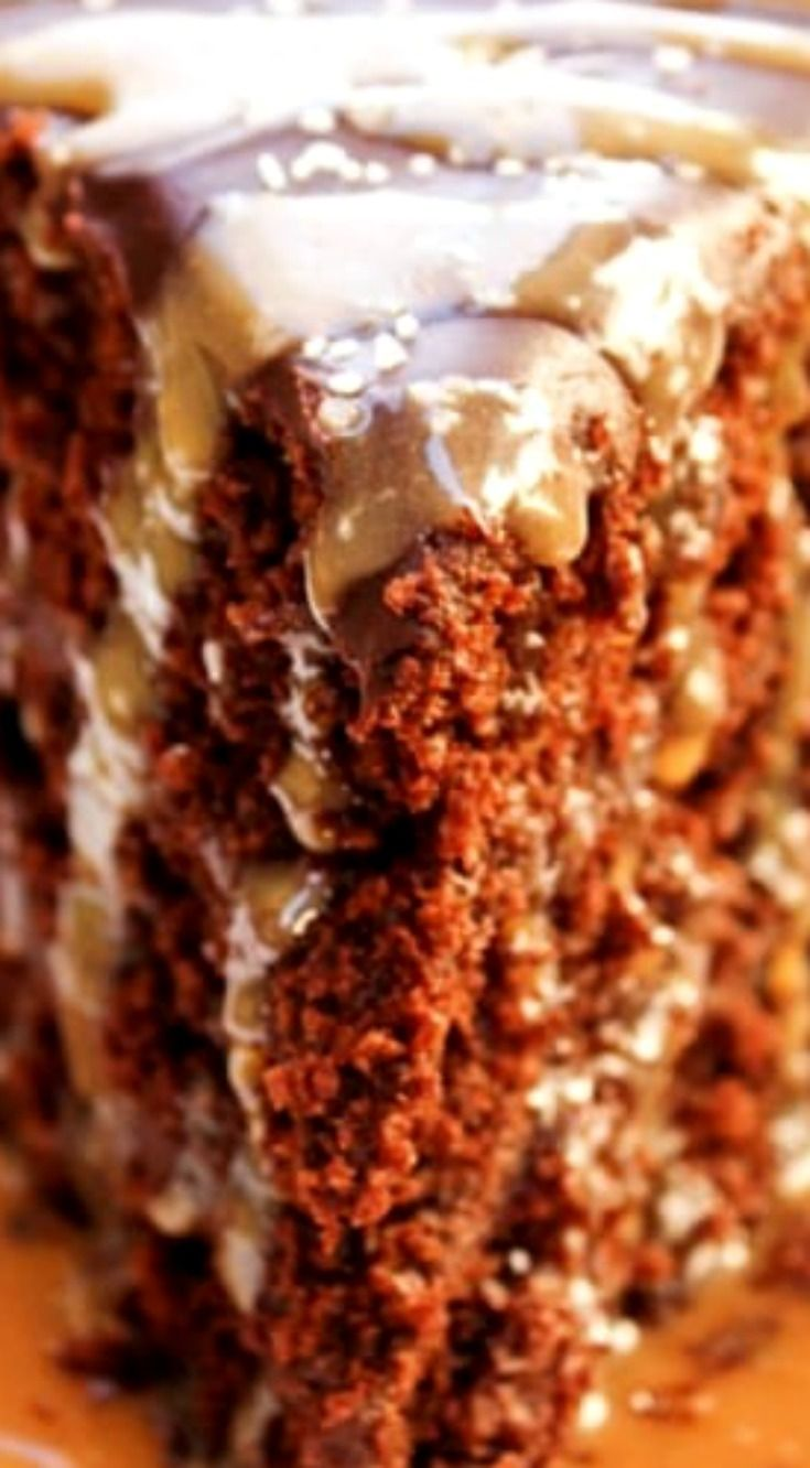 Sweet & Salty Chocolate Layer Cake ~ Layers of rich buttermilk chocolate cake and ganache, then drizzled with a salted caramel sauce & topped with coarse sea salt... Sweet & salty has never tasted this decadent.
