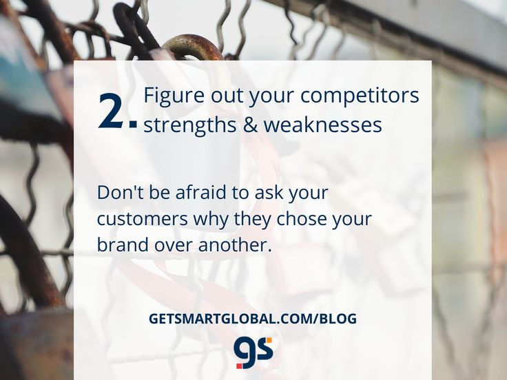 2. What are your competitors strengths & weaknesses? Full blog at www.getsmartglobal.com/blog