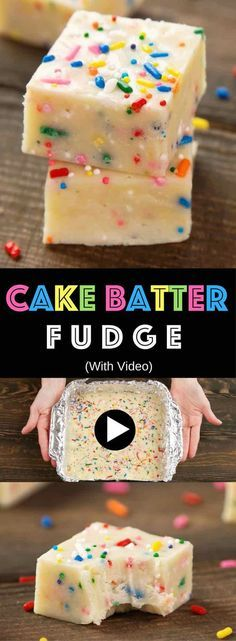 Cake Batter Fudge - Creamy and chocolaty, sweet and soft, with colorful sprinkles. All you need is a few simple ingredients: Cake mix, butter, white chocolate chips, condensed milk, vanilla extract and sprinkles! So Good! Home made gift recipes. Easy recipes for birthday or Mother's Day. Vegetarian. Video recipe. | tipbuzz.com