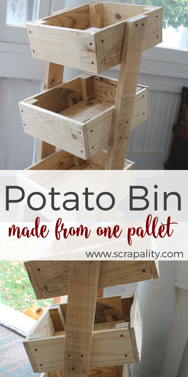 Wow, this gal is has super DIY skills. Take a look at this Potato Bin Made from One Pallet. Awesome. Over at Scrapality.
