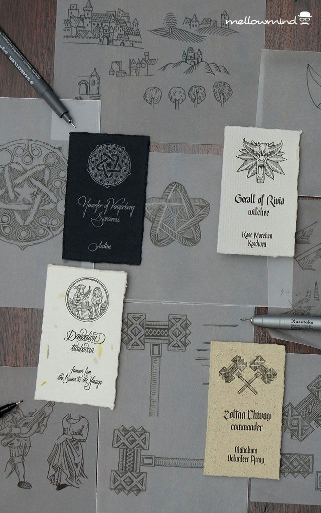 """Letterpress business card for witcher Geralt, sorceress Yennefer, troubadour Dandelion & dwarf Zoltan - characters from """"The Witcher"""" book series by Andrzej Sapkowski."""