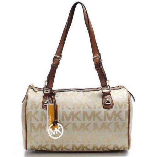 Michael Kors Logo Large Khaki Shoulder Bags