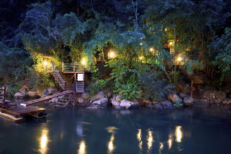 Garden night @ TheFloatHouseVilla #TheFloatHouse #Floatingresort #RiverKwai #Kanchanaburi #Luxuryresort