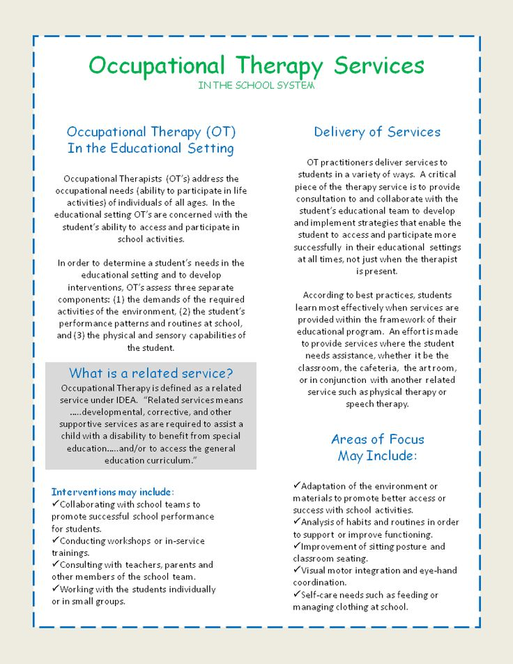 Great resource if you have students receiving the related service of Occupational Therapy. These handouts are an easy explanation of how OT supports students in the educational setting. Use for teachers, as well as for parents.