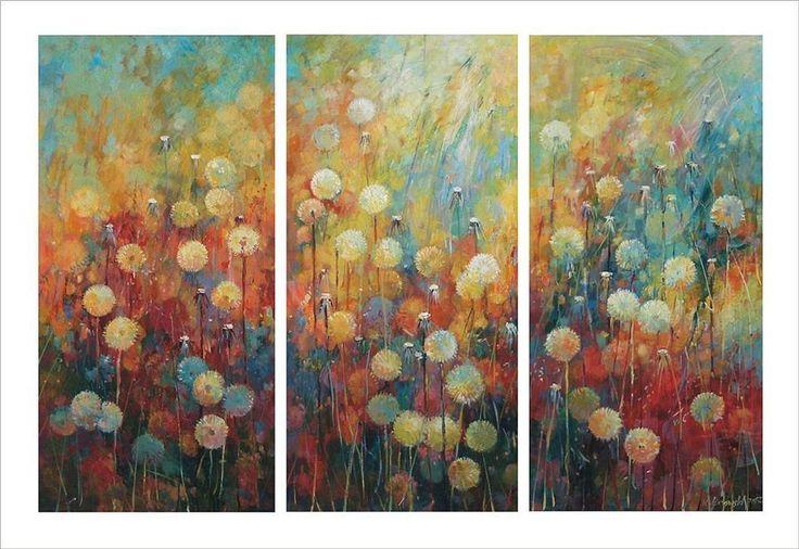 Dandelions 3 x 80x40cm, acrylic, cancas Krzysztof Lozowski