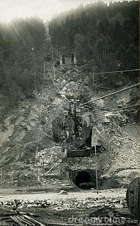 This original antique photograph is taken near a french mine in 1930.