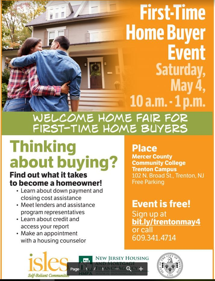 This Saturday 05 04 19 Mercer County New Jersey First Time Home Buyers Homeowner Mercer County