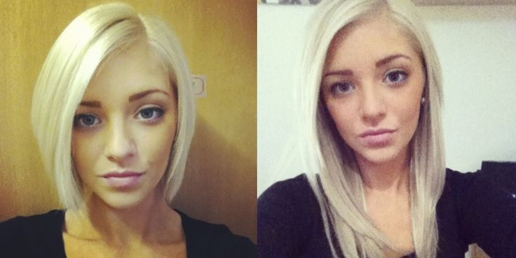 Thanks to the absolutely gorgeous Francesca for sharing these before and after images, wearing her deluxe light blonde Halo Hair Extensions!