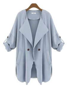 Light Blue Overcoat Cotton Filling Turndown Collar Adjustable Sleeve Curved Hem Stylish Outerwear