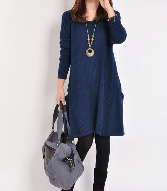 Dark blue sweater dress knitwear cotton dress large knitted sweater long women casual loose sweater blouse plus size sweater cotton blouse on Etsy, $59.90