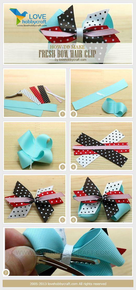 how to make fresh bow hair clip