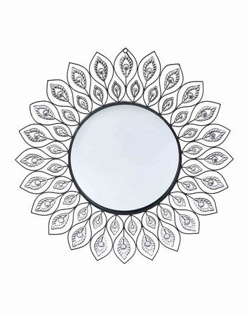 Handcrafted Beaded Leaf Mirror antiquegoldsilver120509121H