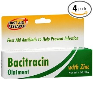 """Bacitracin Ointment: buy this and keep it in your first aid kit; use it like you would """"Neosporin""""; bacitracin, too, is an antibacterial ointment used as first aid for cuts and scratches but tends to cause fewer problems with allergic reactions than the triple antibiotic formula that Neosporin is made from; that is why you'll find the bacitracin used in most ER's and urgent care centers around the country."""