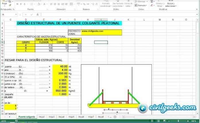 Excel Para Diseño Estructural De Un Puente Colgante Peatonal Civilgeeks Com Puente Colgante Puentes Hojas De Cálculo