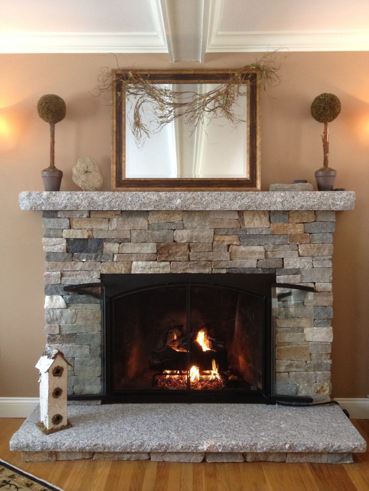 Charmant Reface Fireplace With Stone Veneer