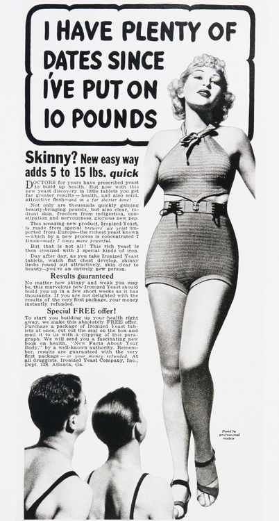 WE LIVE IN THE WRONG ERA, GIRLS!!!!! Concepts of beauty change... Vintage advertisement.