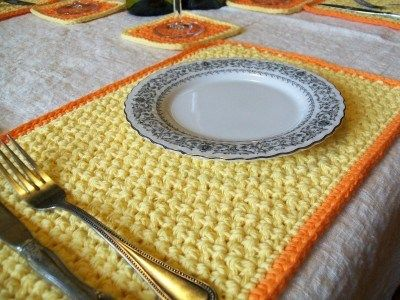 Crochet placemat and coaster set great idea for summer and spring project visit crochetcricket for details on how to make this set.