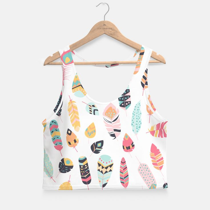 Tribal feather 004 Crop Top, Live Heroes