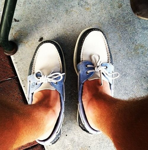 Blue and white Sperrys.
