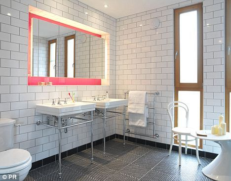hospital tiled bathroom with hint of pink