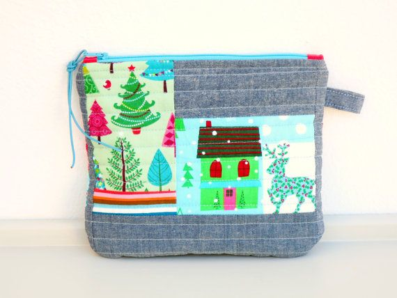 Zipper Pouch  Makeup Pouch  Purse  Blue Pouch  Stamps by NerosPost