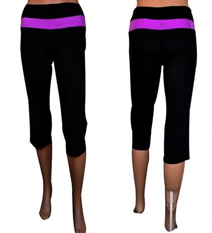 Lululemon Athletica Yoga Groove Crops Black Hot Pink