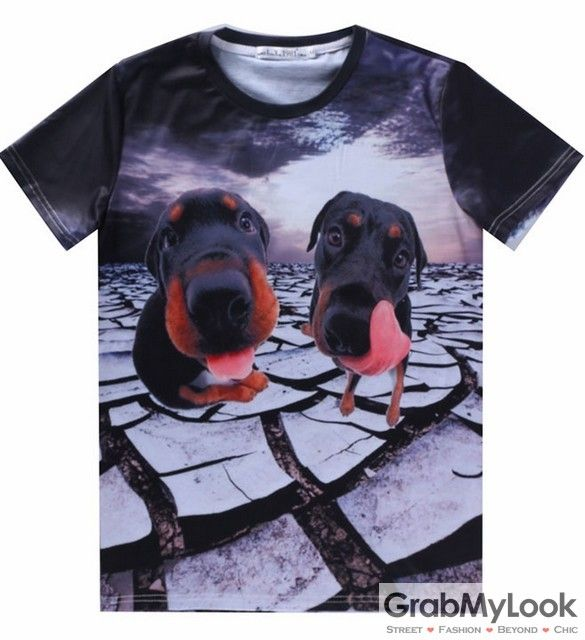 GrabMyLook Black Two Dutchhunds Dogs Mens Short Sleeves T Shirt