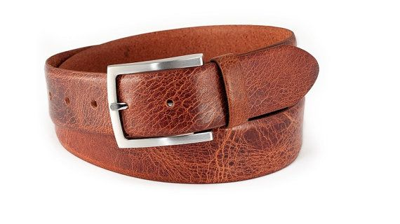 Tan leather belt rustic buffalo leather jeans belt durable vintage leather belt matt silver buckle