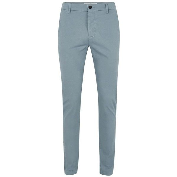 TOPMAN Slate Blue Stretch Skinny Chinos ($34) ❤ liked on Polyvore featuring men's fashion, men's clothing, men's pants, men's casual pants, blue, mens skinny chino pants, mens chino pants, mens blue chino pants, mens blue pants and mens stretch pants
