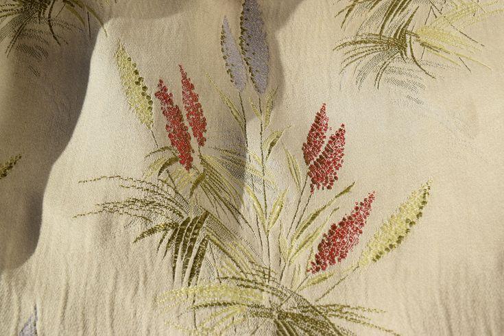 Antique French Art Nouveau Linen Silk Curtain C. 1900 Organic Flowers Boudoir Chateau style Garden Bouquet