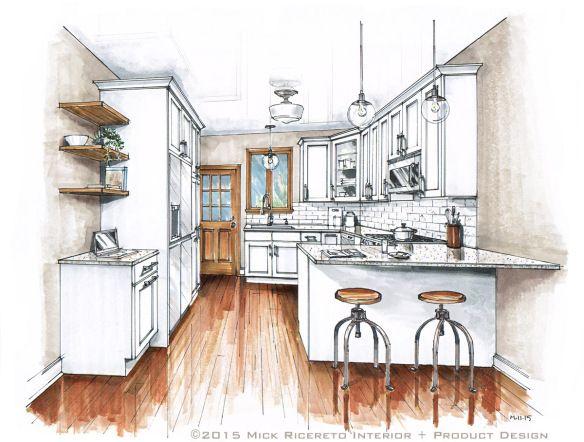 interior design sketches kitchen. Kitchen Rendering - How To Design A Layout. Interior Sketches
