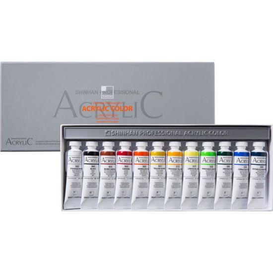 Acrylic Color Paint Set Shinhan Professional 12 Colors 20ml Tube, Artist Drawing #Shinhan