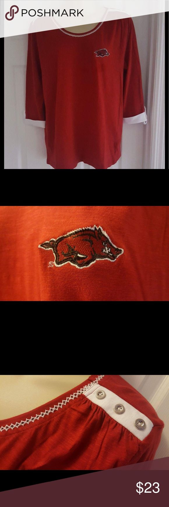 Arkansas Razorbacks 3/4 roll up sleeve tee shirt University of Arkansas Razorbacks dark red 3/4 sleeve cotton fan t-shirt.  Nice detail, embroidered neckline, embroidered school logo silver buttons on shoulder and button roll up sleeves NWT UG APPAREL Tops