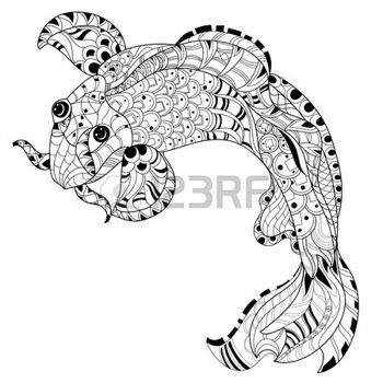 zentangle: Zentangle estilizada china floral del doodle de la carpa de pescado. Dibujado a mano ilustración vectorial. Esbozo de Koi por tatuaje o colorear libro.